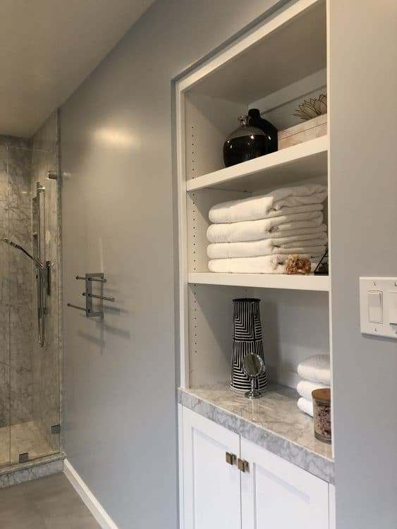 Garnet Bathroom Remodel Shelves Long View